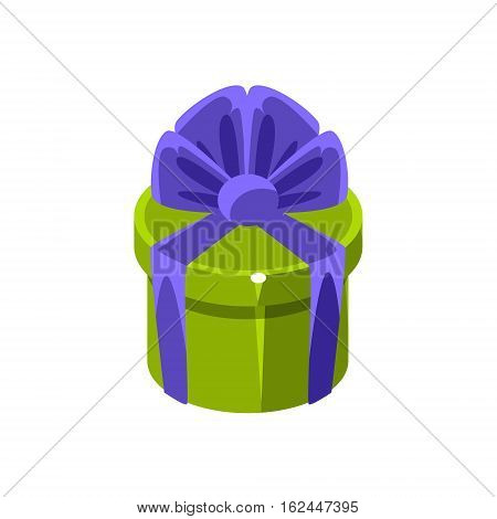 Green Round Gift Box With Present, Decorative Wrapped Cardboard Celebration Giftbox. Colorful Isolated Icon With Specially Packed Party Offering.