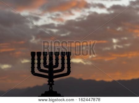 Menorah is traditional Jewish symbol for Hanukkah holiday. Selective focus