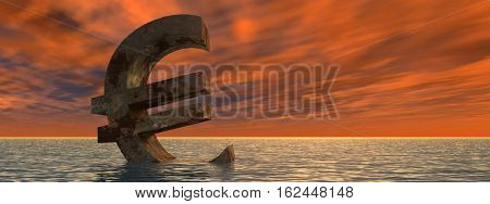 Conceptual 3D illustration currency euro sign or symbol sinking in water, sea or ocean sunset background concept for European crisis banner