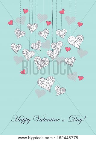 Festive romantic card with doodle drawing ornamental hearts word love Happy Valentine`s Day for Valentine Day romantic holidays save the date wedding honeymoon. eps10