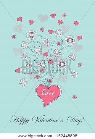 Festive romantic card with doodle drawing floral heart word love Happy Valentine`s Day for Valentine Day romantic holidays save the date wedding honeymoon. eps10