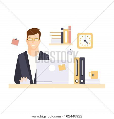 Content Smiling Man Office Worker In Office Cubicle Having His Daily Routine Situation. Vector Primitive Illustration With Company Employee At His Desk.