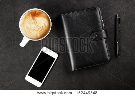Black organizer on a table