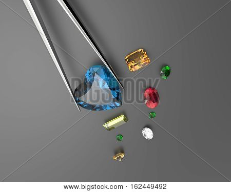 Collection of gemstones. Fashionable and stylish accessories. 3D illustration