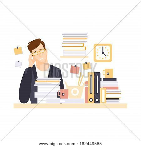 Man Office Worker In Office Cubicle With Headache Having His Daily Routine Situation Cartoon Character. Vector Primitive Illustration With Company Employee At His Desk.