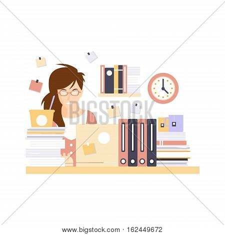 Stressed Woman Office Worker In Office Cubicle Having Her Daily Routine Situation Cartoon Character. Vector Primitive Illustration With Company Employee At Her Desk.