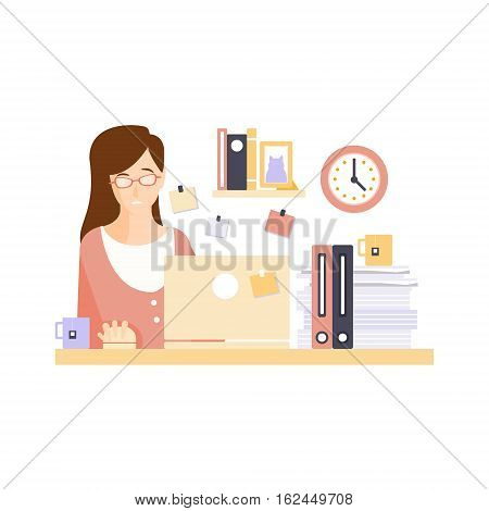 Unhappy Woman Office Worker In Office Cubicle Having Her Daily Routine Situation Cartoon Character. Vector Primitive Illustration With Company Employee At Her Desk.