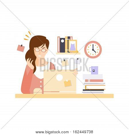 Angry Woman Office Worker In Office Cubicle Having Her Daily Routine Situation Cartoon Character. Vector Primitive Illustration With Company Employee At Her Desk.