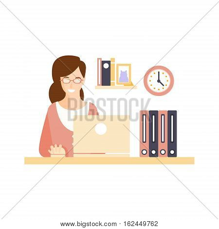 Happy Smiling Woman Office Worker In Office Cubicle Having Her Daily Routine Situation Cartoon Character. Vector Primitive Illustration With Company Employee At Her Desk.