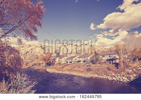 Vintage Stylized Autumn Landscape With Eagle River, Usa.