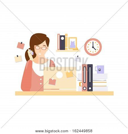 Busy Woman Office Worker In Office Cubicle Having Her Daily Routine Situation Cartoon Character. Vector Primitive Illustration With Company Employee At Her Desk.