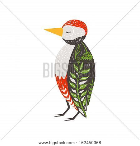 Woodpecker Relaxed Cartoon Wild Animal With Closed Eyes Decorated With Boho Hipster Style Floral Motives And Patterns. Flat Vector Forest Peaceful Fauna Illustration With Hand Drawn Artistic Ornamental Elements.