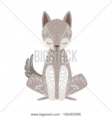 Wolf Relaxed Cartoon Wild Animal With Closed Eyes Decorated With Boho Hipster Style Floral Motives And Patterns. Flat Vector Forest Peaceful Fauna Illustration With Hand Drawn Artistic Ornamental Elements.