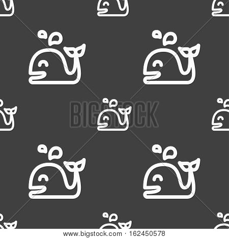 Whale Icon Sign. Seamless Pattern On A Gray Background. Vector