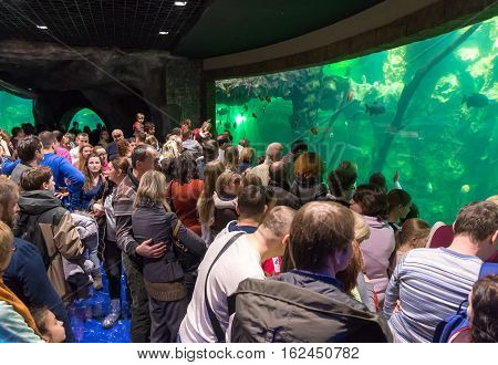 Moscow Russia - December 10.2016. Many people in the Oceanarium in Krasnogorsk. the opening day