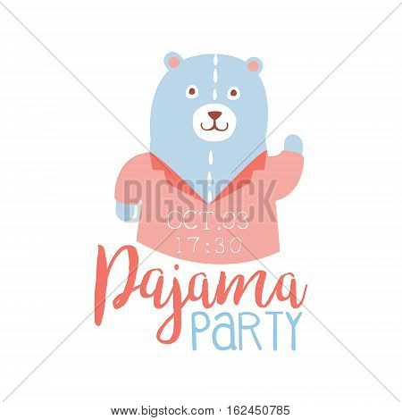 Girly Pajama Party Invitation Card Template With Teddy Bear Inviting Kids For The Slumber Pyjama Overnight Sleepover. Stencil For The Welcome Postcard With Night And Bed Symbols In Pastel Colors.