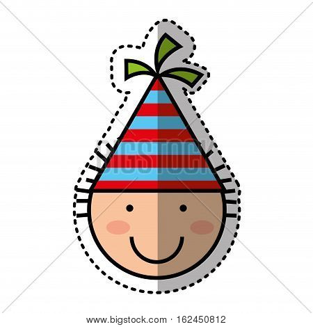 cute boy character with party hat vector illustration design