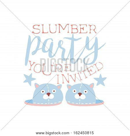Girly Pajama Party Invitation Card Template With Pair Of Slippers Inviting Kids For The Slumber Pyjama Overnight Sleepover. Stencil For The Welcome Postcard With Night And Bed Symbols In Pastel Colors.
