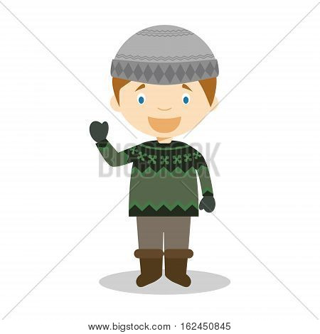 Character from Iceland dressed in the traditional way with the typical lopapeysa sweater. Vector Illustration. Kids of the World Collection.