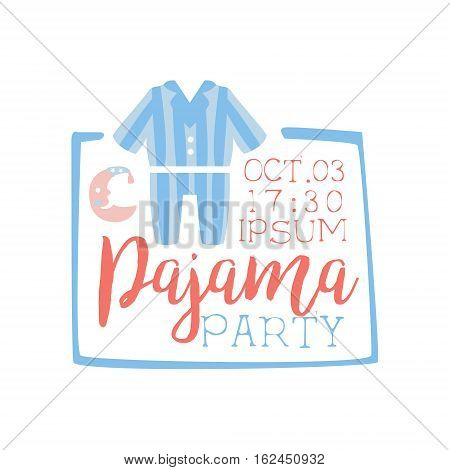 Girly Pajama Party Invitation Card Template With Square Frame Inviting Kids For The Slumber Pyjama Overnight Sleepover. Stencil For The Welcome Postcard With Night And Bed Symbols In Pastel Colors.