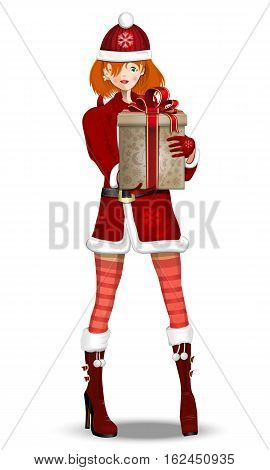 Cute girl dressed as Snow Maiden with a Christmas present in his hands. Snow-maiden with a Christmas gift box. Vector illustration isolated on white background