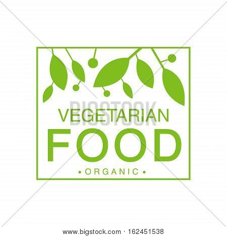 Vegan Natural Food Green Logo Design Template With Square Frame Promoting Healthy Lifestyle And Eco Products. Fresh Bio Vegetables And Vegetarian Diet Vecto Label With Text.