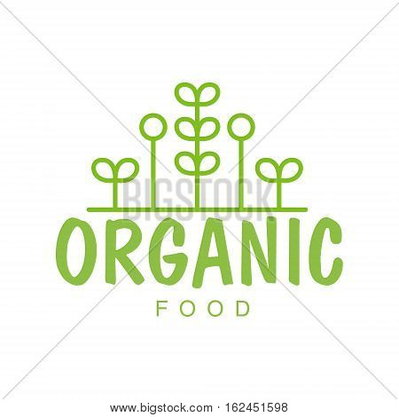 Vegan Natural Food Green Logo Design Template With Geometric Plants Promoting Healthy Lifestyle And Eco Products. Fresh Bio Vegetables And Vegetarian Diet Vecto Label With Text.