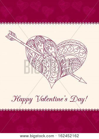 Festive romantic card with doodle drawing ornamental heart words Happy Valentine`s Day for Valentine Day romantic holidays save the date wedding honeymoon. eps10