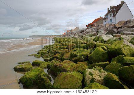 Wissant in Cote d'Opale, Pas-de-Calais, France: The sea front with colorful rocks