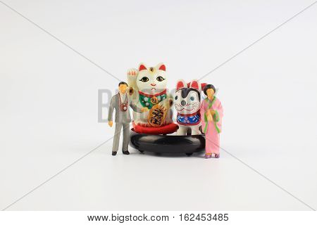 Plastic Geisha Doll With The Inuhariko, Manekineko,