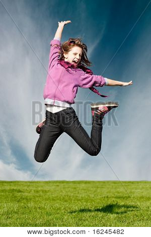 Happy Joy Girl Jum In The Air