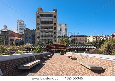 San Francisco,California,USA - October 30, 2015 : Skyscrapers view from the footbridge of Portmouth Square