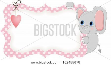 Scalable vectorial image representing a baby elephant holding pink blank label, isolated on white.