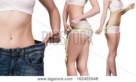 Collage of woman in oversize jeans and with measuring tape
