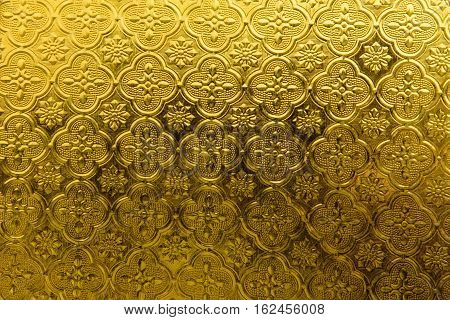 Yellow vintage glass Pattern, texture, background. stock photo