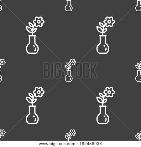 Flower In Vase Icon Sign. Seamless Pattern On A Gray Background. Vector