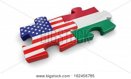 3D Illustration. USA and Hungary puzzle from flags. Image with clipping path