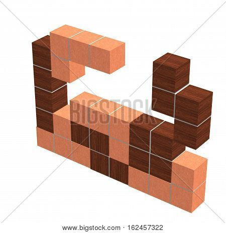 puzzle video game - geometric wooden 3D shapes - think creative game