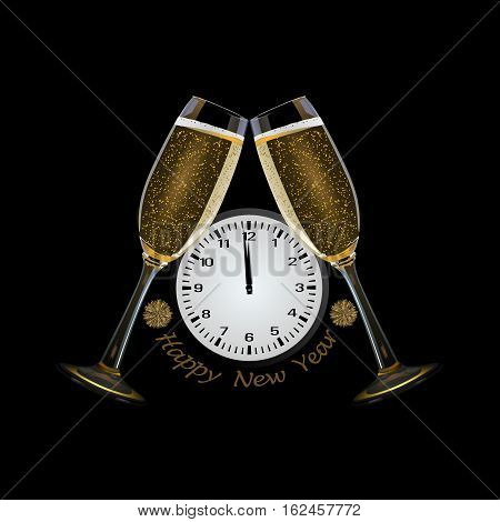 Clock and champagne glasses and text happy new year, 3D Illustration