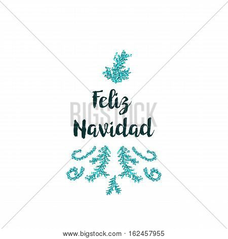 Christmas greeting card on white background with blue elements and text Feliz Navidad