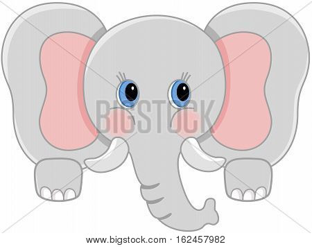 Scalable vectorial image representing a curious baby elephant peeking, isolated on white.