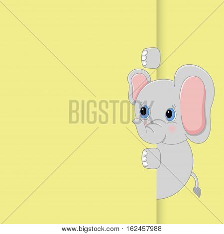Scalable vectorial image representing a cute baby elephant peeking out.