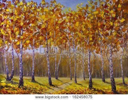 Original oil painting of road in a birch grove fallen autumn leaves on canvas. Modern Impressionism Art. Artwork.