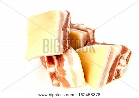 Pork bacon isolated on a white background. pork belly