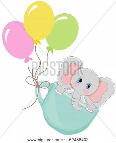 Scalable vectorial image representing a elephant in teacup with balloons, isolated on white.