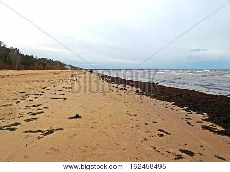 Coast of the Baltic Sea in winter, Jurmala, Latvia, December 2016