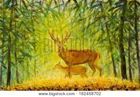 Original oil painting of deer with a small deer in the autumn forest on canvas. Modern Impressionism Art. Artwork.
