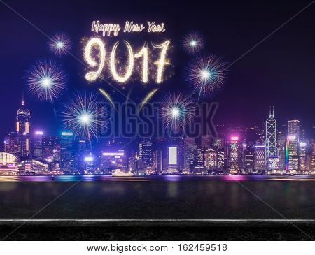 Happy New Year 2017 Fireworks Over Cityscape At Night With Empty Black Marble Table,mock Up Template