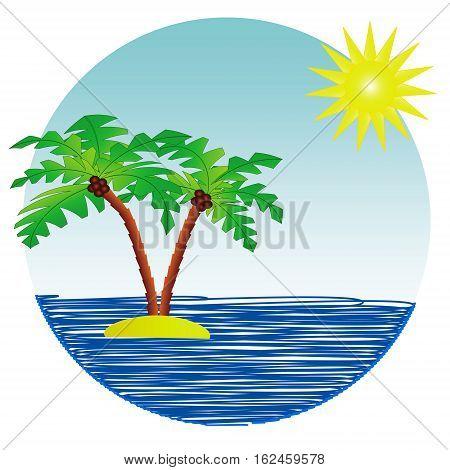 Tropical island with sandy ocean beach, palm trees, waves and sun