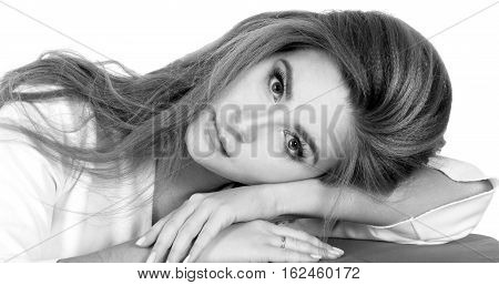Young Woman Laying On Her Hand